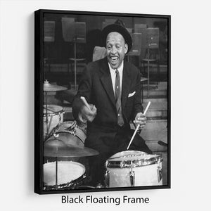 Lionel Hampton on the drums Floating Frame Canvas - Canvas Art Rocks - 1