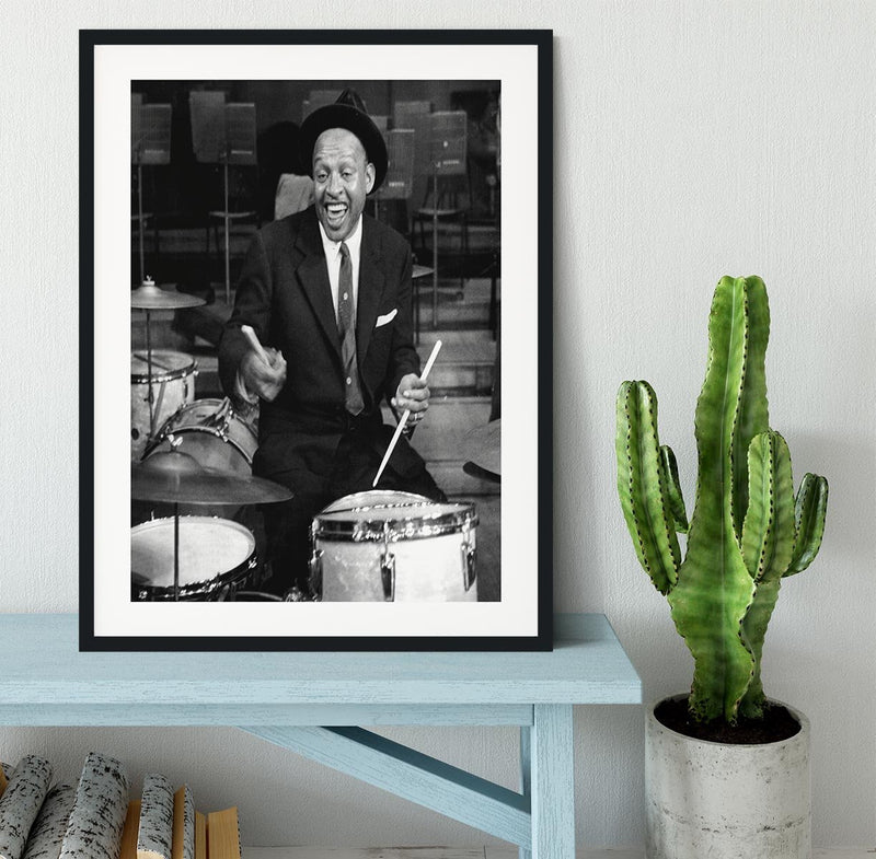 Lionel Hampton on the drums Framed Print - Canvas Art Rocks - 1