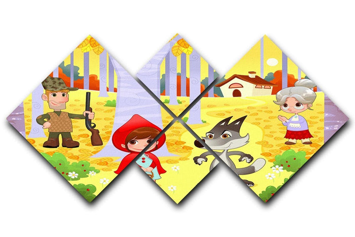 Little Red Hiding Hood scene 4 Square Multi Panel Canvas