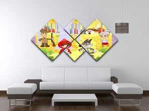 Little Red Hiding Hood scene 4 Square Multi Panel Canvas - Canvas Art Rocks - 3