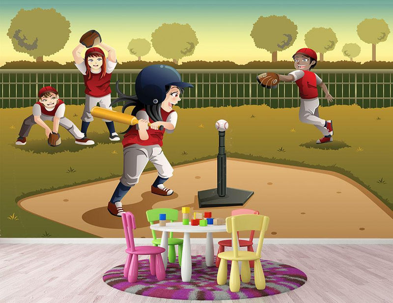 Little kids playing Tee ball Wall Mural Wallpaper - Canvas Art Rocks - 1