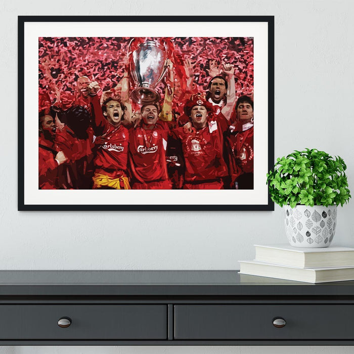 Liverpool Football Champions League In Istanbul Framed Print