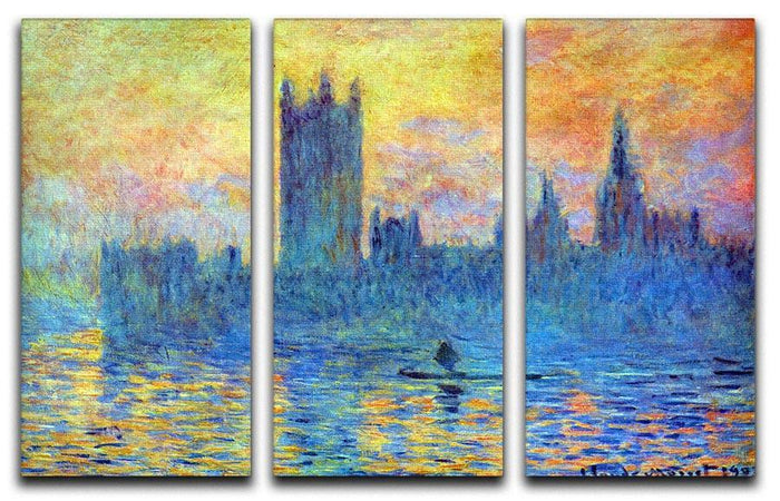 London Parliament in Winter by Monet Split Panel Canvas Print