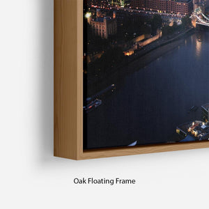 London aerial view with Tower Bridge Floating Frame Canvas