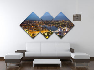 London at sunset City background 4 Square Multi Panel Canvas  - Canvas Art Rocks - 3