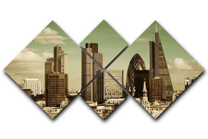 London city rooftop view with urban architectures 4 Square Multi Panel Canvas