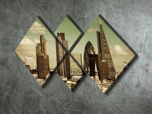 London city rooftop view with urban architectures 4 Square Multi Panel Canvas  - Canvas Art Rocks - 2