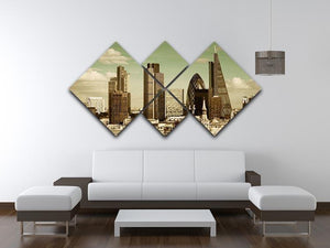 London city rooftop view with urban architectures 4 Square Multi Panel Canvas  - Canvas Art Rocks - 3