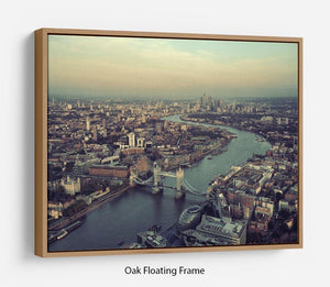 London rooftop view panorama at sunset Floating Frame Canvas