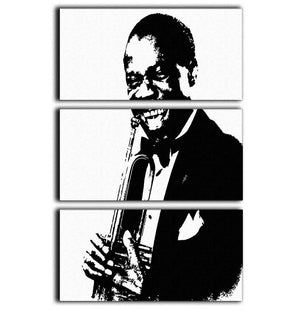 Louis Armstrong 3 Split Panel Canvas Print - Canvas Art Rocks - 1