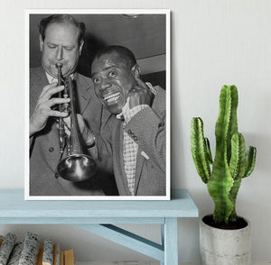Louis Armstrong listens Framed Print - Canvas Art Rocks -6