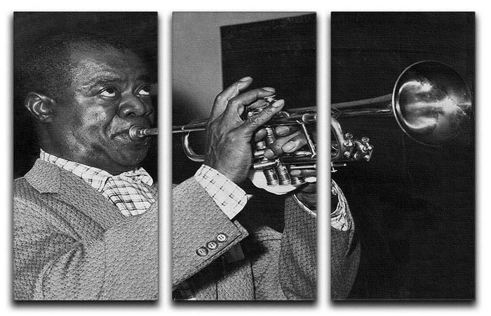 Louis Armstrong plays 3 Split Panel Canvas Print