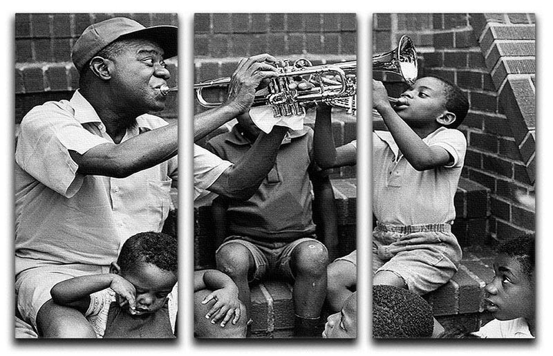 Louis Armstrong with kids 3 Split Panel Canvas Print - Canvas Art Rocks - 1