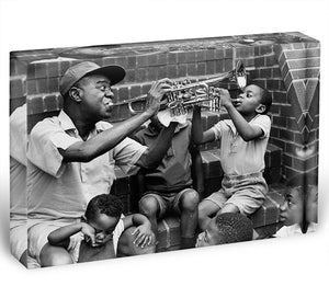 Louis Armstrong with kids Acrylic Block - Canvas Art Rocks - 1