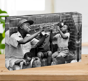 Louis Armstrong with kids Acrylic Block - Canvas Art Rocks - 2
