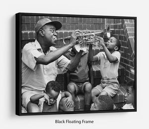 Louis Armstrong with kids Floating Frame Canvas - Canvas Art Rocks - 1