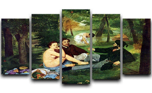 Luncheon on The Grass 1863 by Manet 5 Split Panel Canvas  - Canvas Art Rocks - 1