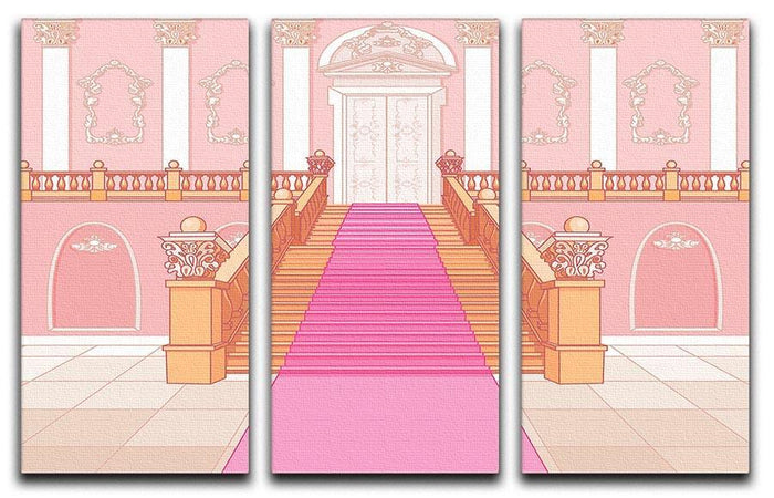 Luxury staircase in the magic palace 3 Split Panel Canvas Print
