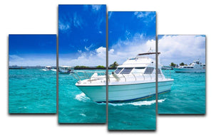 Luxury yatch in beautiful ocean 4 Split Panel Canvas  - Canvas Art Rocks - 1