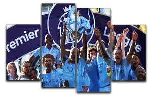 MANCHESTER CITY PREMIER LEAGUE WINNERS 2019 4 Split Panel Canvas - Canvas Art Rocks - 1