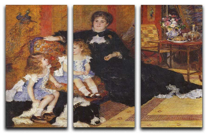 Madame Charpentier and her children by Renoir 3 Split Panel Canvas Print