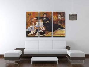 Madame Charpentier and her children by Renoir 3 Split Panel Canvas Print - Canvas Art Rocks - 3
