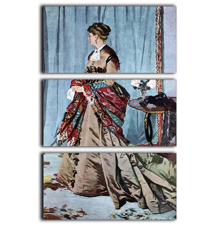 Madame Gaudibert by Monet 3 Split Panel Canvas Print