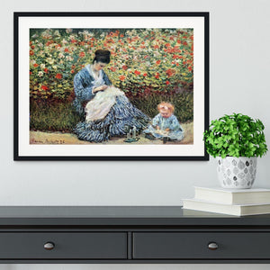 Madame Monet and child by Monet Framed Print - Canvas Art Rocks - 1