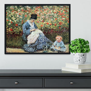 Madame Monet and child by Monet Framed Print - Canvas Art Rocks - 2