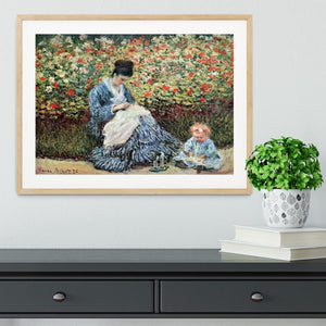 Madame Monet and child by Monet Framed Print - Canvas Art Rocks - 3
