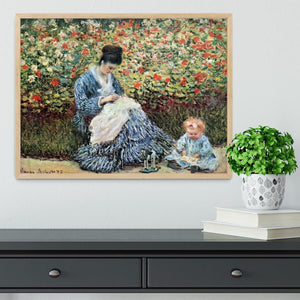Madame Monet and child by Monet Framed Print - Canvas Art Rocks - 4