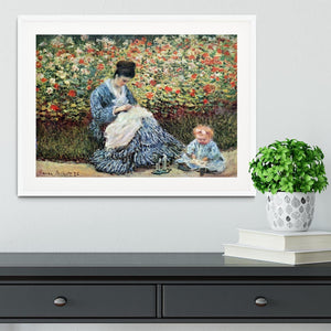 Madame Monet and child by Monet Framed Print - Canvas Art Rocks - 5