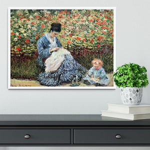 Madame Monet and child by Monet Framed Print - Canvas Art Rocks -6
