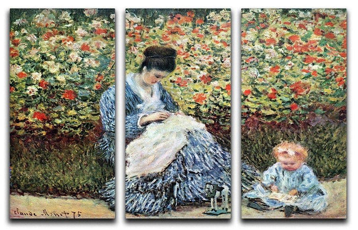 Madame Monet and child by Monet Split Panel Canvas Print