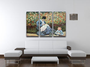 Madame Monet and child by Monet Split Panel Canvas Print - Canvas Art Rocks - 4