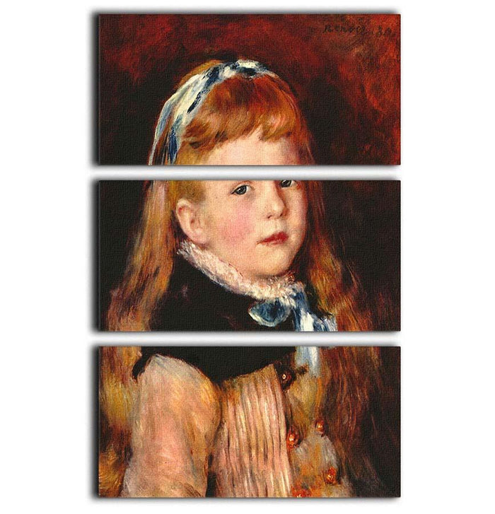 Mademoiselle Grimprel with blue hair band by Renoir 3 Split Panel Canvas Print