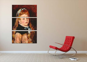Mademoiselle Grimprel with blue hair band by Renoir 3 Split Panel Canvas Print - Canvas Art Rocks - 2