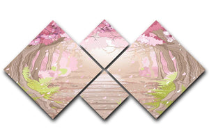 Magic spring forest 4 Square Multi Panel Canvas  - Canvas Art Rocks - 1