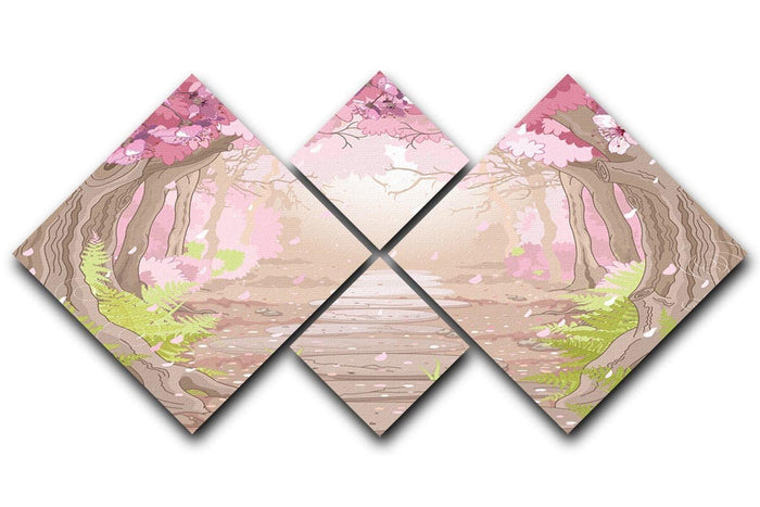 Magic spring forest 4 Square Multi Panel Canvas