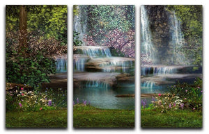Magical landscape with waterfalls 3 Split Panel Canvas Print - Canvas Art Rocks - 1