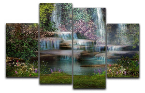 Magical landscape with waterfalls 4 Split Panel Canvas  - Canvas Art Rocks - 1