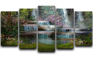 Magical landscape with waterfalls 5 Split Panel Canvas  - Canvas Art Rocks - 1