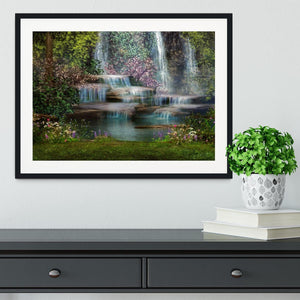 Magical landscape with waterfalls Framed Print - Canvas Art Rocks - 1
