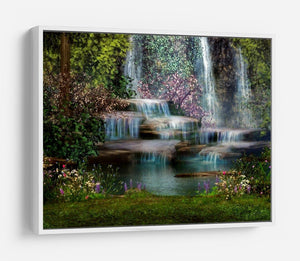 Magical landscape with waterfalls HD Metal Print