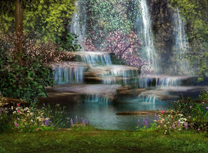 Magical landscape with waterfalls Wall Mural Wallpaper - Canvas Art Rocks - 1
