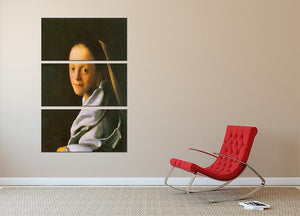 Maid by Vermeer 3 Split Panel Canvas Print - Canvas Art Rocks - 2
