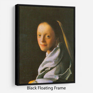 Maid by Vermeer Floating Frame Canvas - Canvas Art Rocks - 1