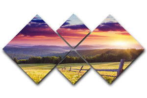 Majestic sunset in Carpathian 4 Square Multi Panel Canvas  - Canvas Art Rocks - 1