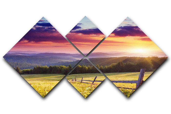 Majestic sunset in Carpathian 4 Square Multi Panel Canvas