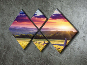 Majestic sunset in Carpathian 4 Square Multi Panel Canvas  - Canvas Art Rocks - 2